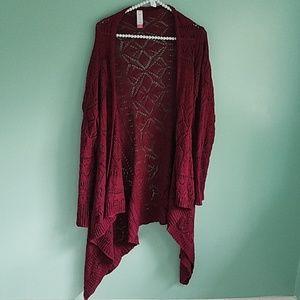 No Boundaries Maroon Knit Crochet Duster Cardigan